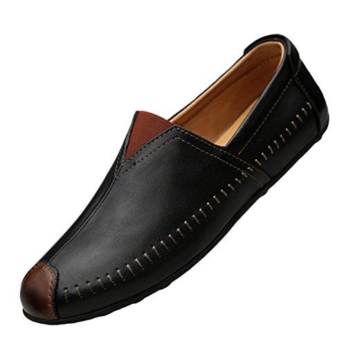 Anguang Herren Low-Top Business Britischer Stil PU-Leder Slip On Schuhe Fahrschuhe Loafers Mokassins Schwarz#1 40