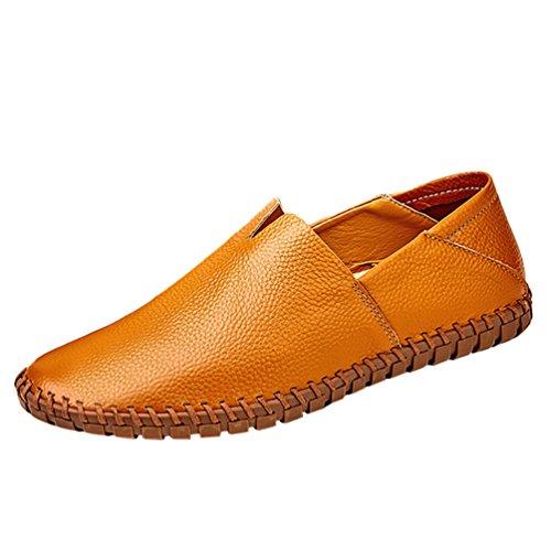 Dooxi Herren Comfort Geschäft Slip On Freizeitschuhe Mode Mokassins Flach Loafers Schuhe Braun 47
