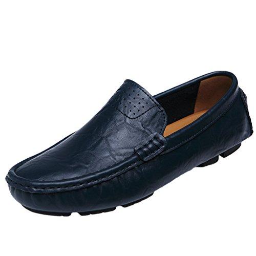 Dooxi Herren Comfort Mokassins Loafers Flach Schuhe Mode Geschäft Slip On Freizeitschuhe Fahrenschuhe Bootsschuhe Blau 42