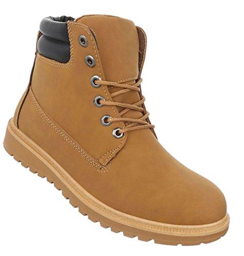 Herren Schuhe Boots Schnürer Stiefeletten Camel 41