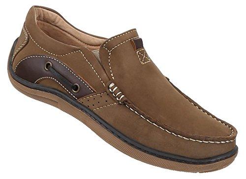 Herren-Schuhe Mokassins | elegante Slipper ohne Verschluss in Camel und in Größe 45 | Schuhcity24 | Leder Mokassins