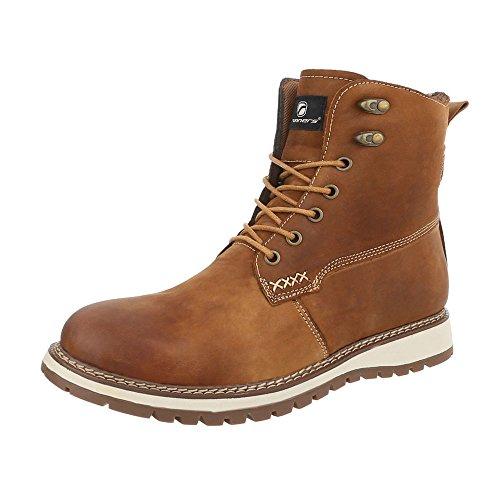 Ital-Design Stiefeletten Leder Herren-Schuhe Klassischer Stiefel Schnürer Schnürsenkel Boots Camel, Gr 44, 47083-
