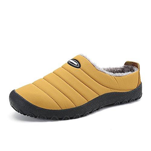 JACKSHIBO Unisex Herren Winter Wärme Hausschuhe Bequem Plüsch Home Rutschfeste Slippers Wasserdicht Baumwolle Pantoffeln,Gelb,EU43