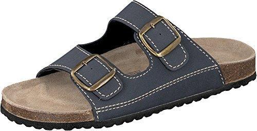 Softwaves 174 001 BLUE (807) Herren Schuhe Pantolette Sandale Echtleder Fußbett 2er-Riemen (46)