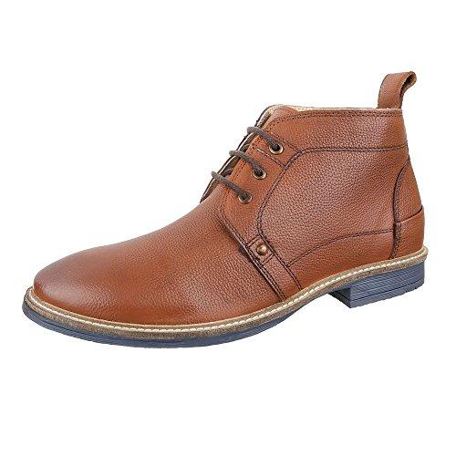 Stiefeletten Herren Leder Schuhe Chelsea Boots Blockabsatz Schnürer Schnürsenkel Ital-Design Boots Camel, Gr 42, 220261-