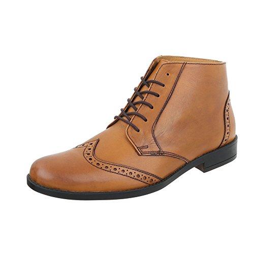 Stiefeletten Leder Herren-Schuhe Chelsea Boots Blockabsatz Schnürer Schnürsenkel Ital-Design Boots Camel, Gr 47, Se-22009-