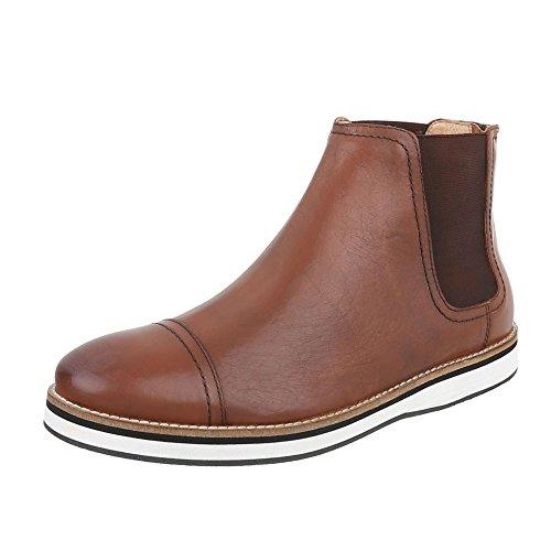 Stiefeletten Leder Herren-Schuhe Chelsea Boots Moderne Reißverschluss Ital-Design Boots Camel, Gr 41, 220972-