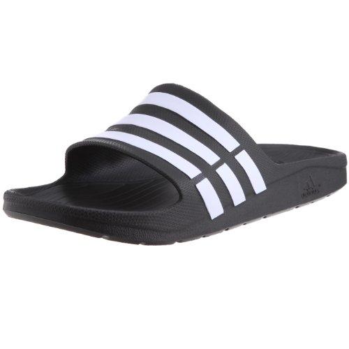 adidas Duramo Slide Herren Dusch & Badeschuhe, Schwarz (Black/White), 46 EU