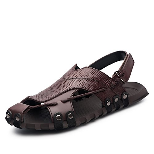 ailishabroy Herren Schwarz/Braun Echtleder Verstellbare Touch Befestigen Comfort Gladiator Sommer Sandalen Schuhe (42 EU, Braun)
