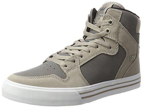 Supra Herren Vaider Sneaker, Grau (Vintage Khaki/Charcoal-White), 47.5 EU