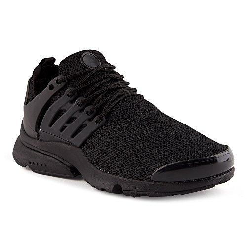 FiveSix Herren Sneaker Sportschuhe Laufschuhe Freizeitschuhe Textilschuhe Schnürschuhe Low-Top Schuhe Schwarz EU 44