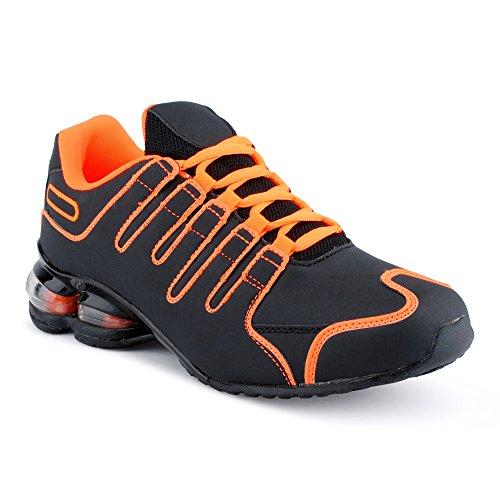 Herren Damen Sneaker Sportschuhe Lauf Freizeit Neon Runners Fitness Low Unisex Schuhe Orange/Schwarz-M EU 43