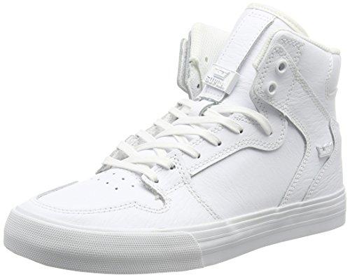 Supra Vaider, Unisex-Erwachsene Hohe Sneakers, Weiß (White/White - Red WWR), 45 EU (10 Erwachsene UK)