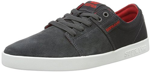 Supra Herren Stacks II Sneaker, Grau (Dark Grey/Red-White 031), 42.5 EU
