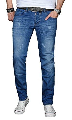 A. Salvarini Designer Herren Jeans Hose Basic Stretch Jeanshose Regular Slim [AS033 - Blau - Used - W38 L30]