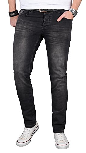 A. Salvarini Designer Herren Jeans Hose Regular Slim Fit Jeanshose Basic Stretch [AS-057 - W31 L30]