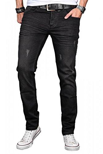 A. Salvarini Herren Designer Jeans Hose Stretch Basic Jeanshose Regular Slim [AS044 - W29 L32]
