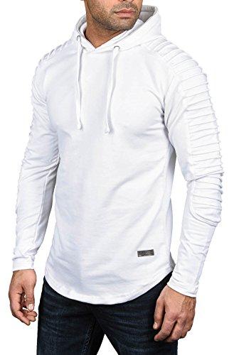 A. Salvarini Herren Pullover Langarm Sweatshirt Kapuzen Hoodie Biker AS038 (Gr. XXL / Gr. 2XL, Weiss)
