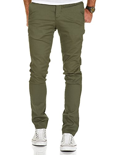 Amaci&Sons Herren Slim Fit Stretch Chino Hose Jeans 7010-09 Olive W38/L32