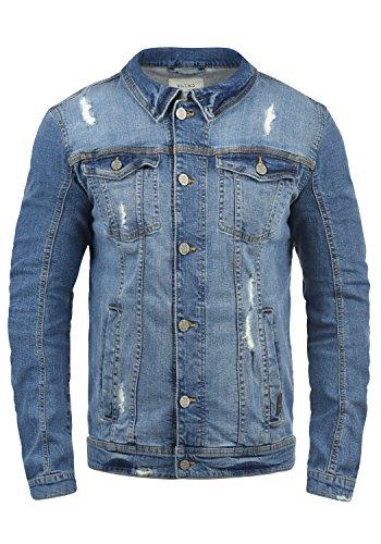 BLEND Saitz Herren Jeansjacke Denim Übergangsjacke mit Stehkragen aus hochwertiger Baumwollmischung Washed-Out Stretch, Größe:L, Farbe:Denim middleblue (76201)