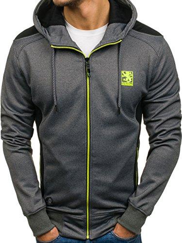 BOLF Herren Sweatshirt mit Kapuze Reißverschluss Hoodie Sport Style T&C STAR 2086 Dunkelgrau L [1A1]