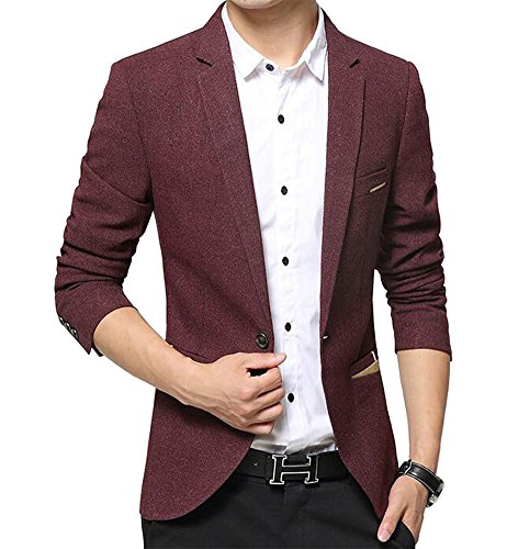 Benibos Herren Premium Ein Knopf Slim Fit Blazer Anzugjacke (M, Burgund)