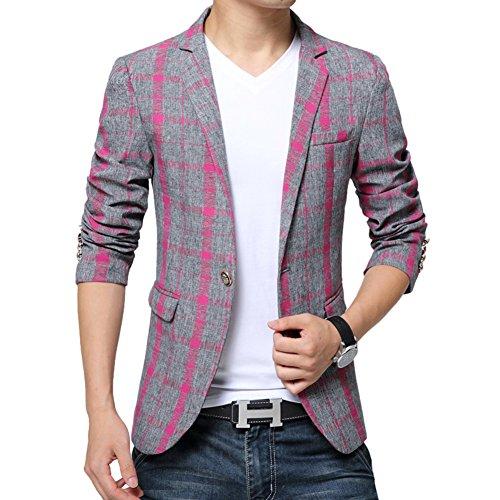 BiSHE Männer Plaid Bettwäsche elegante Blazer Slim Fit Smart formalen Anzüge Jacket Sakko