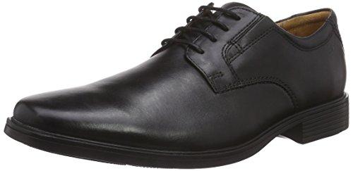 Clarks Tilden Plain, Herren Derby Schnürhalbschuhe, Schwarz (Black Leather), 46 EU (11 Herren UK)
