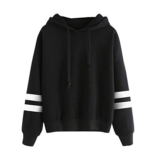 Damen Hoodie, VEMOW Langarm Sweatshirt Pullover mit Kapuze Einfarbig Tops Bluse
