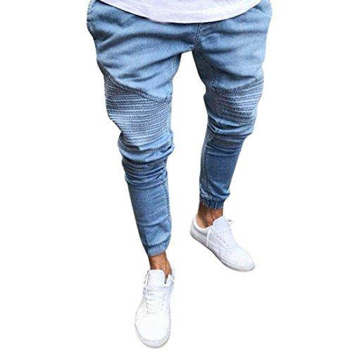 Denim Hosen Fußhosen Herren, Sunday Stretchy Slim Fit Denim Hosen Casual Lange Gerade Hosen Skinny Jeans Sommer Streifen Neues Design Outdoor Pants (XXL, Blau)