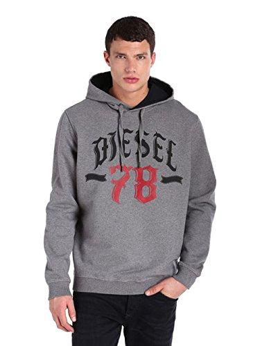 Diesel S-ANJ Felpa Brushed Herren Sweatshirt Hoodie Grau (XS, Grau)