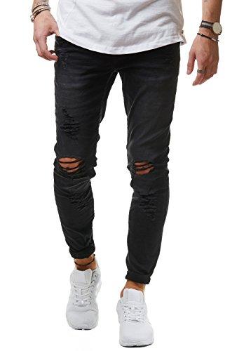 EightyFive Herren Jeans Denim Hose Slim Fit Skinny Destroyed Stretch EF1512, Farbe:Schwarz, Hosengröße:W29 L32