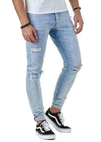 EightyFive Premium Denim Herren Destroyed Jeans Slim Fit Basic Hell-Blau EFJ170, Farbe:Blau, Hosengröße:W30 L32