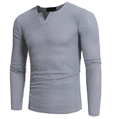 Elecenty Herren Langarmshirt Longsleeve Slim Fit T-Shirt Leicht Oversize Basic Männer Sweatshirt Kompressionsshirt Grandad-Ausschnitt aus hochwertiger Baumwoll-Mischung (M, Grau 2)