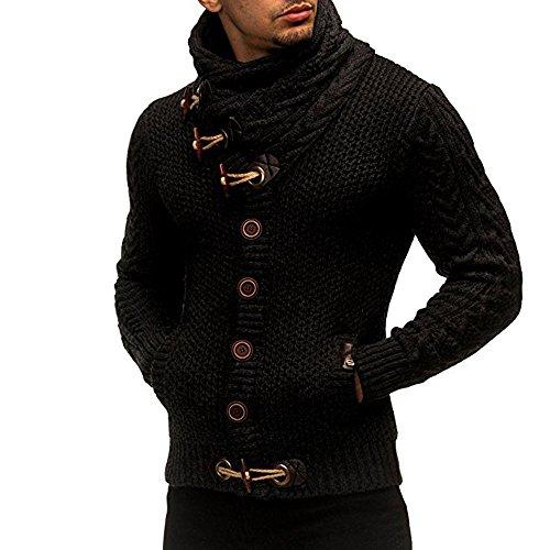 FORH Herren strickpullover Klassisch Vintage Stricken rollkragenpullover Winter Casual Strickjacke Mantel Hoch wertiger Taste kapuzenpullover winter Mode Sweater Cardigan outwear (XL, Schwarz)