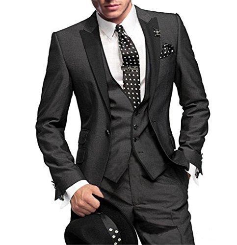GEORGE BRIDE Herren Anzug 5-Teilig Anzug Sakko,Weste,Anzug Hose,Krawatte,Tasche Platz 002,3XL
