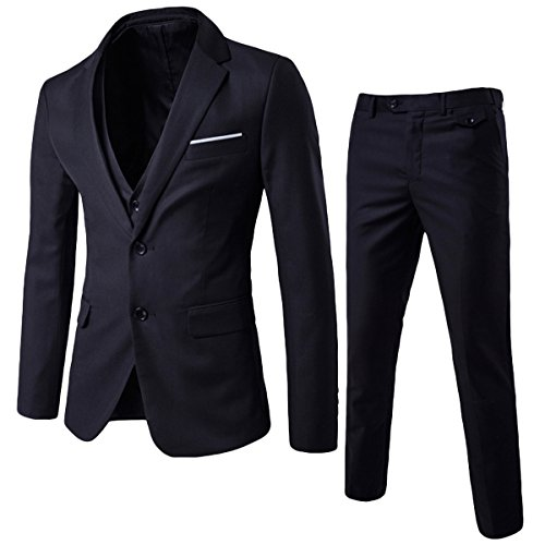 Herren 3-Teilig Anzug Slim Fit Zwei Knöpfe Anzughose Anzugweste von Allthemen Schwarz Medium