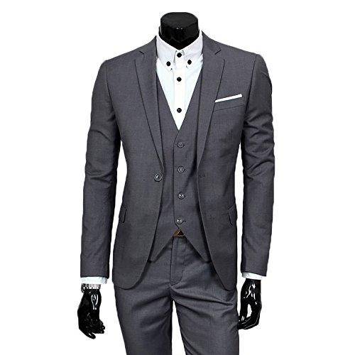 Herren Anzug Regular Fit Business Anzüge 3-Teilig Anzugjacke Anzughose Weste Dunkel Grau XXX-Large