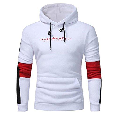 Herren Hoodie Sweatshirt Btruely Herbst Männer Pullover Mode Kapuzenpullover Tasche Lange Ärme Sweatshirt Outwear (XL, Weiß)