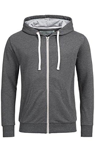 Herren Hoodie-s BANQERT - BASIC PRINCIPLE , Männer und Jungen Zip-Pullover , Zipper Sweater Kapuzenjacke-n , Kapuzenpulli-s Sweatshirt-s , Hoody Pulli Jacke , Sweatjacke-n Kapuzenpullover , Dunkelgrau L Large
