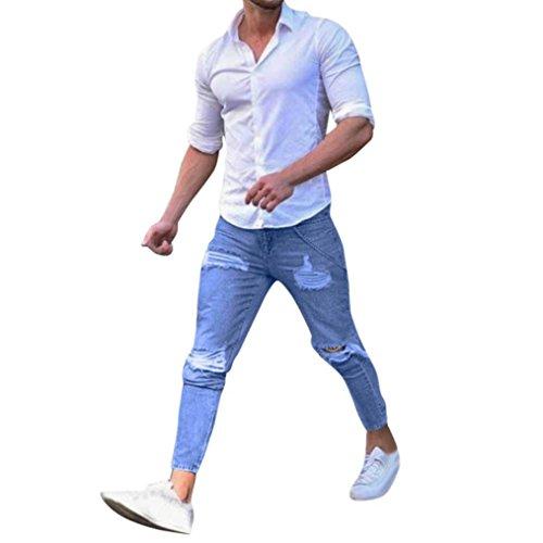 Herren Hose Xinan Freizeit Men Kleidung Hosen Jeans Stretchy Gerissen Skinny Biker Jeans Zerstört Tape Slim Fit Denim Pants (S, Blau)