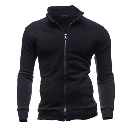 Herren Jacke Longra Männer Herbst Winter Freizeitjacke Sportjacke Cardigan Zipper Sweatshirts Tops Jacke Mantel Herren Übergangsjacke Stoff-Jacke (M, Black)