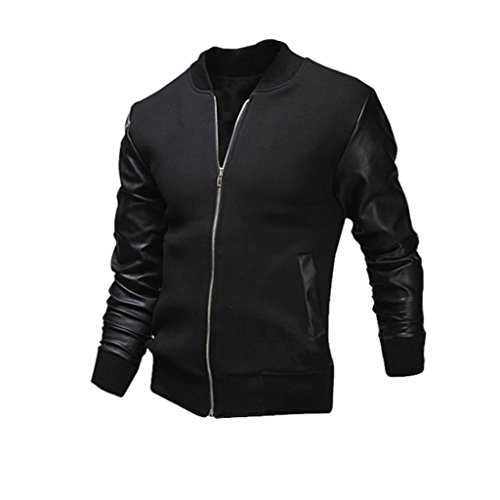 Herren Jacken,Honestyi Herren Herbst Winter Slim Collar Casual Jacken Tops (Schwarz, S)