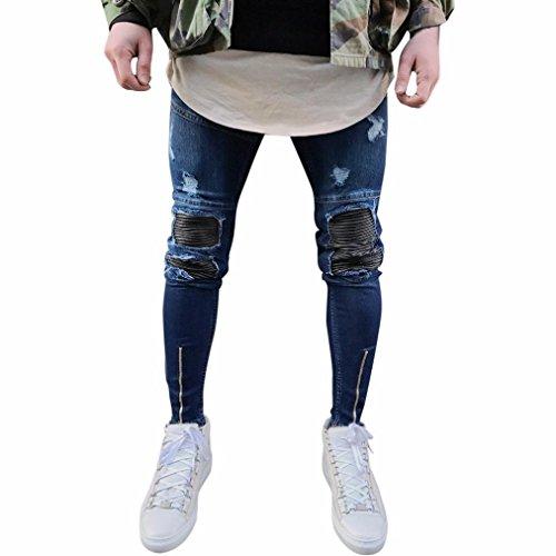 Herren Jeans Hose Jeanshosen Slim Fit Strech Skinny Destroyed Löchern Jeans Denim (28, Dunkelblau)