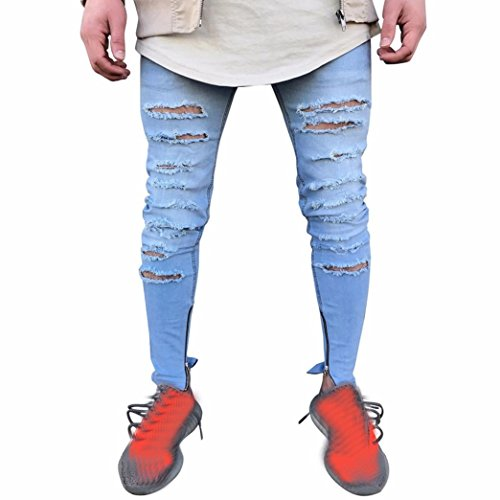 Herren Jeans Hose Slim Fit, Dasongff Herren Zerrissen Jeans Stretchy Skinny Biker Jeans Destroyed Löchern Denim Hosen Jeanshose Slim Fit (28, Blau)