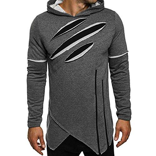 Herren Lange Ärmel Hoodie mit Kapuze Sweatshirt Tops Jacken Mantel Outwear (M, Grau)