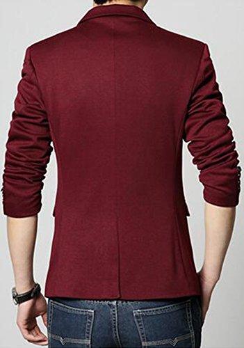 Herren Premium Lässig Slim Fit Ein Knopf Blazer Anzugjacke Sakko (XL, Burgund)