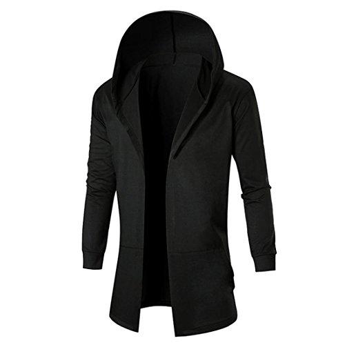 Herren Strickjacke Btruely Winter Männer Jacke Langarm Mit Kapuze Mantel Männer Hooded Sweatshirt Outwear (L, Schwarz)