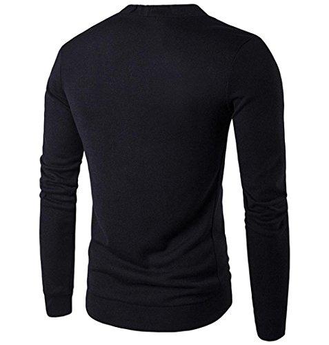 Herren Strickjacke Knit Cardigan mit Taschen | ZEZKT-Herren Jacket aus hochwertiger Baumwolle mit V-Ausschnitt (XXL, Schwarz)