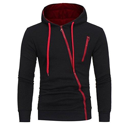 Herren Sweatshirt,Dasongff Mode Herren Lange Ärmel Kapuzenpulli Tops Jacke Taschen Mantel Schrägem Reißverschluss Outweart Sweatshirt Kapuzenpullover (XL, Schwarz)